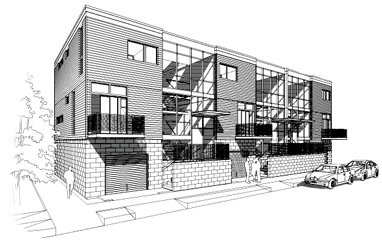 Greenbelt Townhouse line drawing